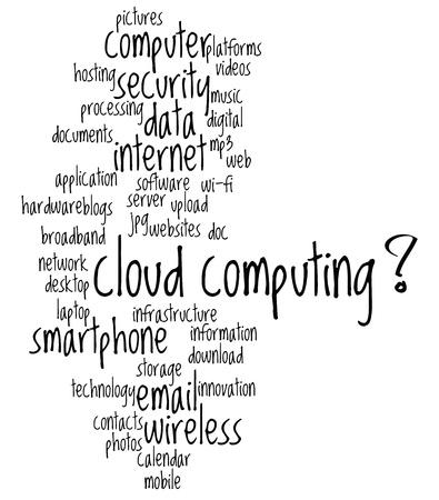 Cloud computing fondos conceptuales, con palabras y conceptos. Ilustración de vector