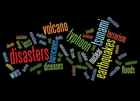 disasters background as words clouds. Stock Vector - 10649370
