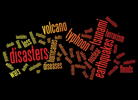 doomsday: disasters background as words clouds.