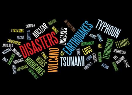 Fondo de desastres como nubes de palabras.