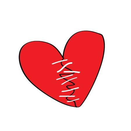 corazon roto: roto el corazón con puntos de sutura, más dibujos animados en forma de corazón está en mi perfil