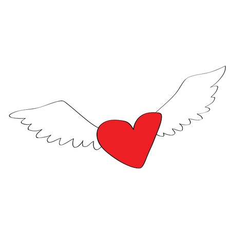 angel heart with wings, more heart shape cartoon is in my profile Vector