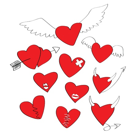collections of cartoon heart shapes Vector