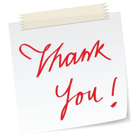 merci: une note de remerciement, avec des textes �crits � la main