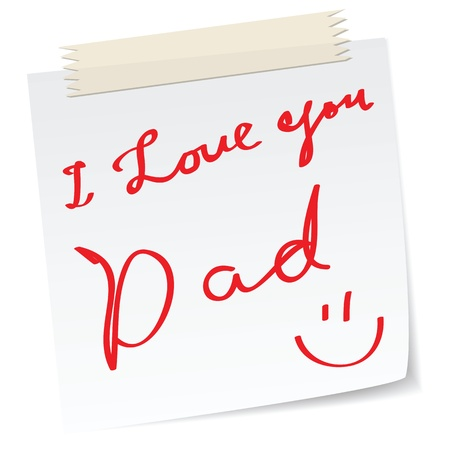 love message: father day greetings on a paper notes, with handwritten message. Illustration