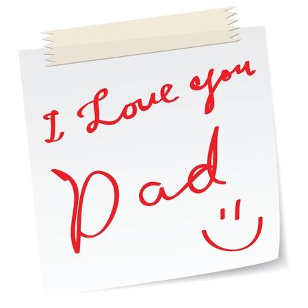 te amo: saludos padre d�a en una nota de papel, con un mensaje escrito a mano.