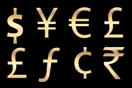 florin: all currencies symbols in gold, for business concepts.