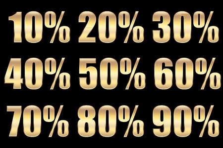 advertisment: different sale percentage in gold, for concepts.