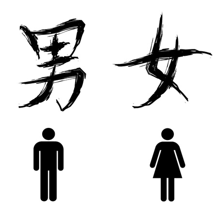 toilet sign for man and woman, in chinese calligraphy. Illustration