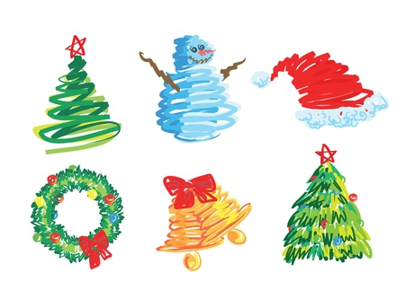 christmas clip-arts set, hand drawn style. Vector format. Vector