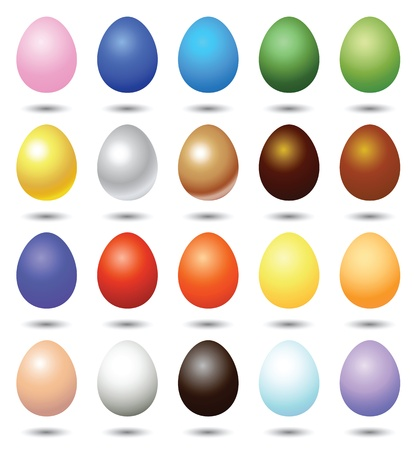 easter decorations: colorful easter eggs illustrations, vector format. Illustration