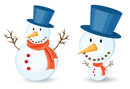 snowman illustrations for christmas theme. Isolated on white background. Vector