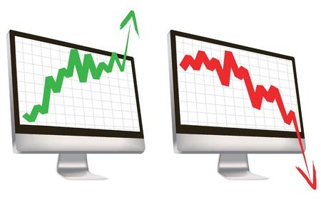 bullish market: business symbols for economy situation. Illustration