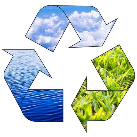reciclar basura: reciclar los conceptos de preservar el equilibrio ecológico de la tierra.
