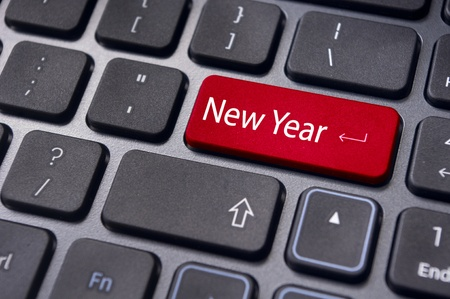picture of close up on keyboard pad, for new year greetings and concepts. photo
