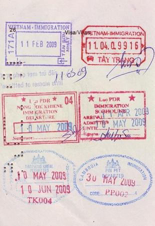 stamps of entry and exit of many countries.. photo