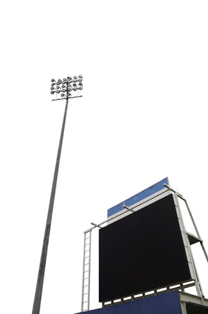 scoreboard: scoreboard in a stadium with a tall floodlight, isolated on white  Stock Photo