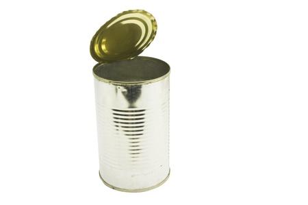 tin can: an opened tin can.