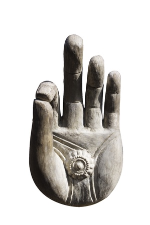 isolated Buddha hand, religion symbol or as an okay sign. photo