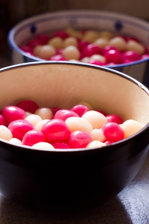 delicacy: traditional delicacy for chinese, glutinous rice balls for arrival of winter.  Stock Photo