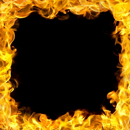 fire hazard: fire flames border, copy space in the center. Stock Photo