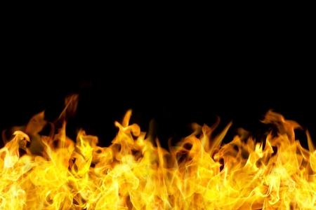 llamas de fuego: llamas de fuego en la frontera de estilo horizontal, sin fisuras, el uso de la bandera. Foto de archivo