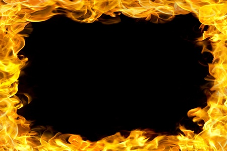 blazing: fire flames border, copy space in the center. Stock Photo