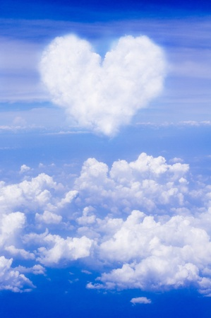 heart shaped: abstract clouds as heart shape, for love themed background, valentine