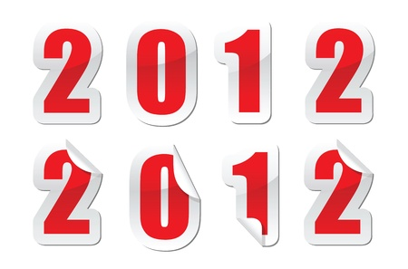 illustrations of stickers for 2012 new year greetings Stock Vector - 11820749