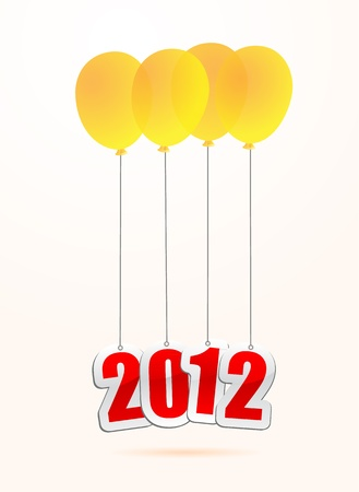 vector illustrations of new year greetings for 2012, hanging on balloons. Stock Vector - 11820881