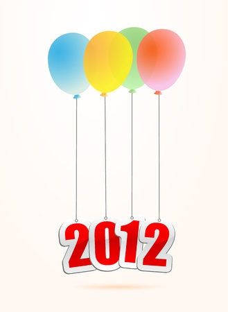 vector illustrations of new year greetings for 2012, hanging on balloons. Stock Vector - 11820882
