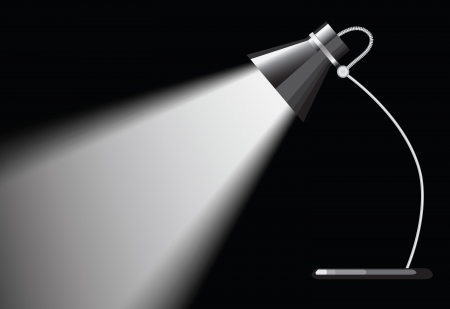 desk lamp: desk lamp with a black background, with a empty space under spotlight.