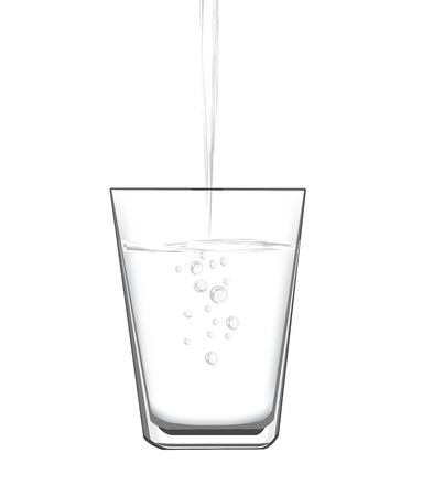vaso con agua: ilustraciones vector de llenado de agua en un vaso. Vectores