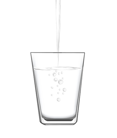 pour: vector illustrations of filling water into a glass.