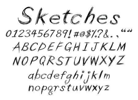 a set of sketch alphabet for design usage. Vector
