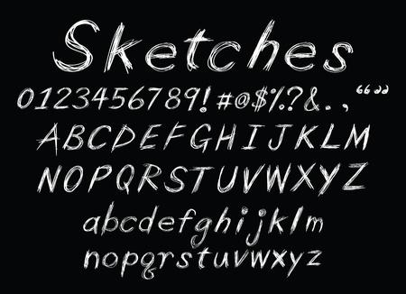 a set of sketch alphabet as chalk for design usage.