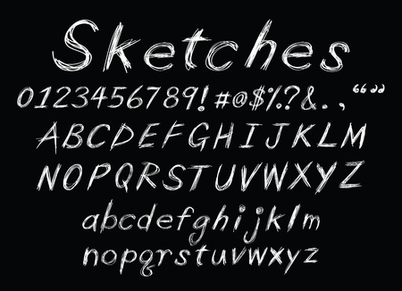 a set of sketch alphabet as chalk for design usage.  Vector