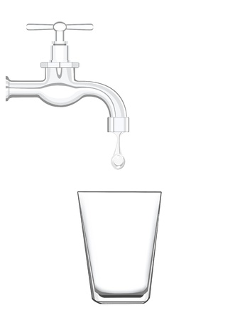 spigot: a water tap with realistic flowing water, on a white background