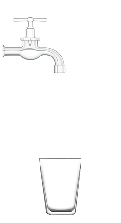 a water tap with no water, an empty glass is awaiting. Vector