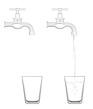 flowing water: para ilustrar grifo de agua sin agua y el agua que fluye realista.