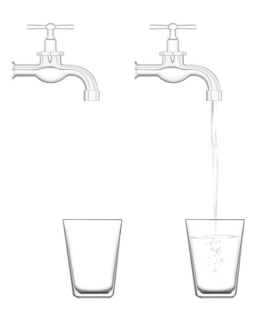 watery: to illustrate water tap with no water and realistic flowing water.