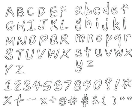 set of handwritting alphabets, numbers and symbols as pencil style Vector