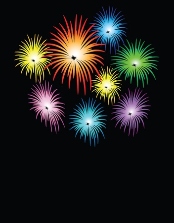 fire works: illustrations of fire works, vectors.