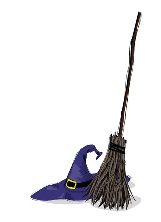 illustration of witch hat and broomstick, in grunge style