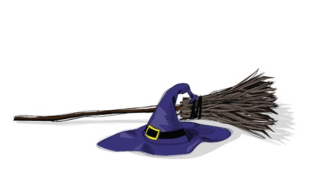 witch hat: illustration of witch hat and broomstick, in grunge style