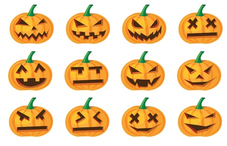 different expressions of halloween pumpkins, vector format. Vector