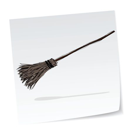 broomstick: a note with hand-drawn halloween theme message - 7 of series.