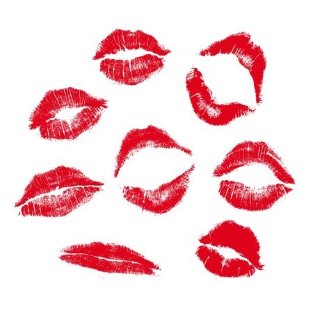 marque la lèvre réalistes en jpg et la forme vectorielle, soigneusement transférés. isolé sur fond blanc.