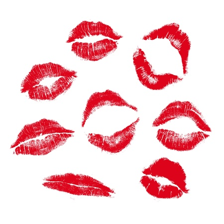 lipstick kiss mark: realistic lip mark in jpg and vector form, carefully transfered. isolated on white background. Illustration