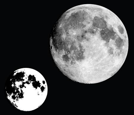 Mond realistisch in schwarz und weiß. Vektorgrafik